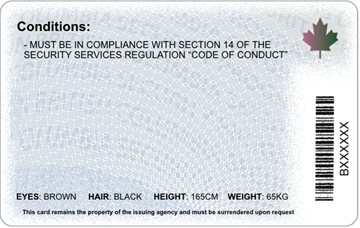 new id card back - BC Security Guard Training