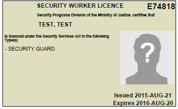 old id card front - BC Security Guard Training